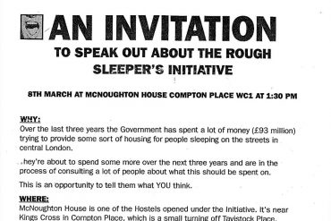 Image of the invitation to speak about the rough sleepers initiative