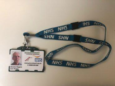 An NHS lanyard
