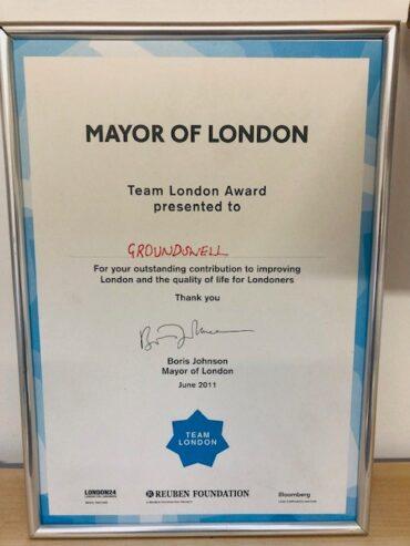 The Mayor of London award certificate