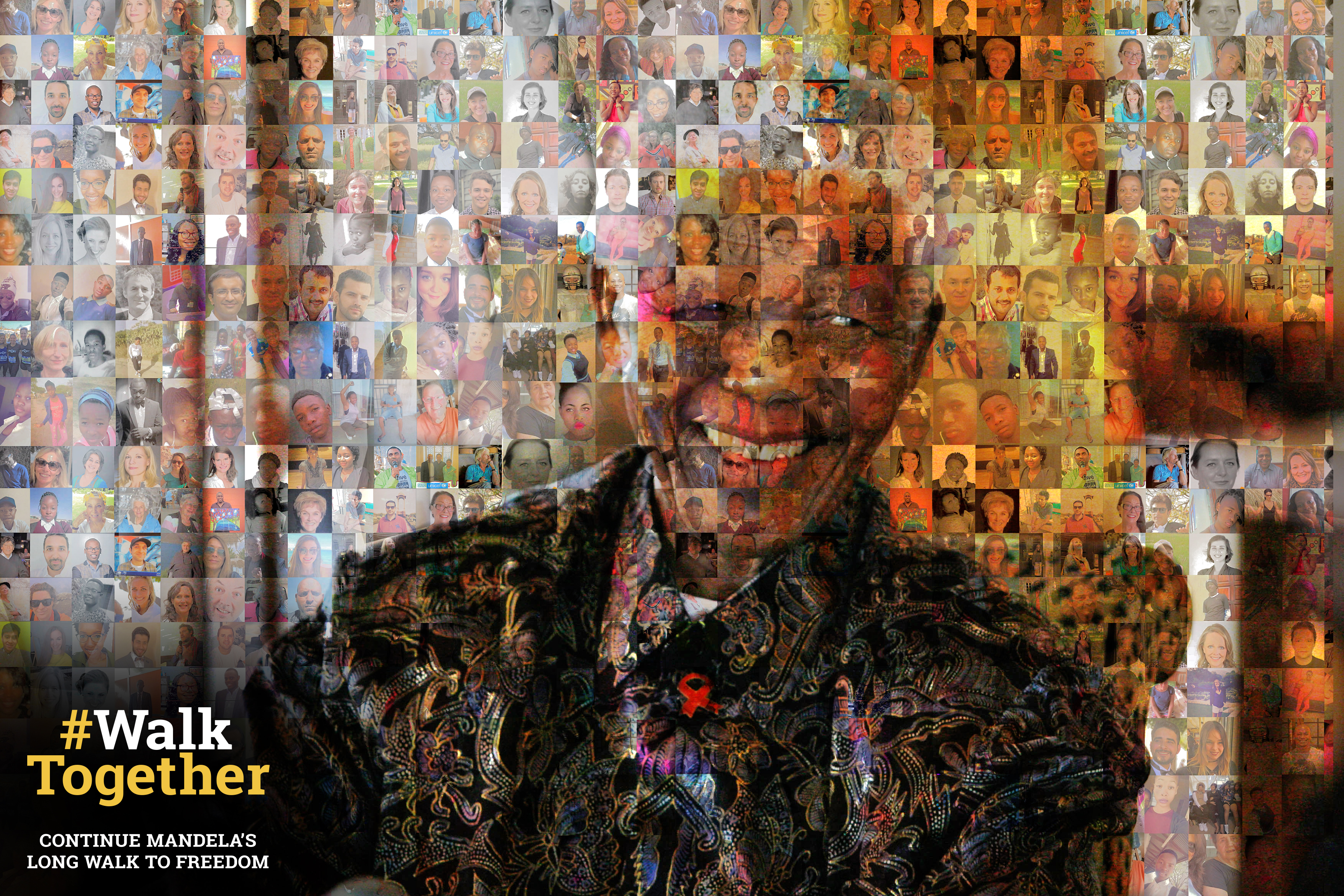 An image of Nelson Mandela and the walk together logo