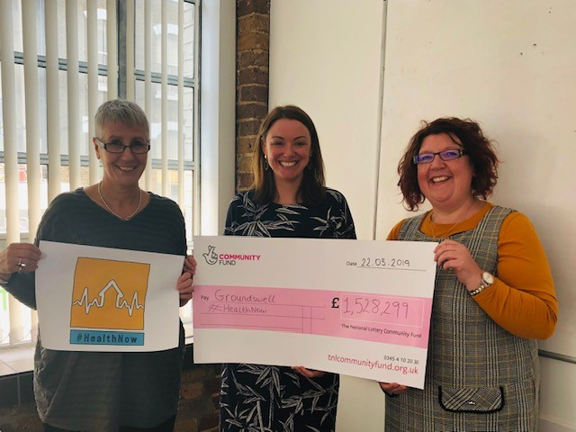 Bex from Crisis, Jenny from Groundswell and Vanessa from Shelter with the Big lottery cheque