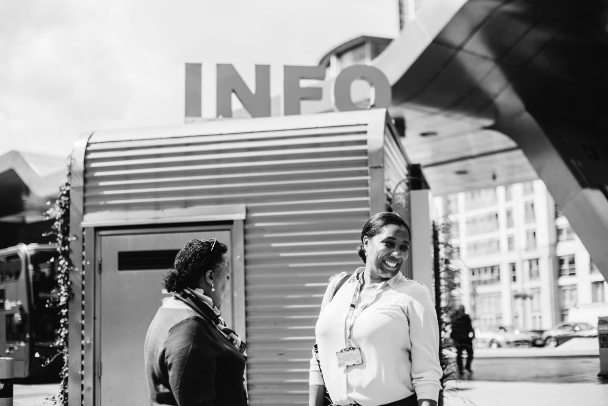 Two ladies at an information point